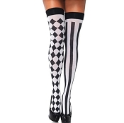 Adults Harlequin Striped Thigh Highs